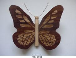 Papillon PPE_1605 - Dessus des ailes marquetées - Dessous des ailes en placage
