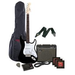e.Gitarre, Verstärker, Tasche, Stimmgerät, Gurt & Kabel
