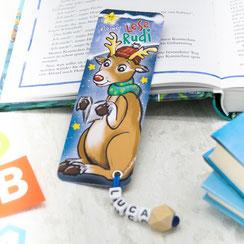 personalisiertes lesezeichen weihnachten rentier rudolph