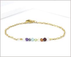 Chakra Edelstein Armband 3 mm mit Edelstahl vergoldet  Länge wählbar  19,90 €