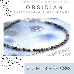 Obsidian dunkles Edelstein Armband und 925 Silber Verschluß