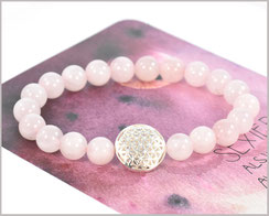 Rosenquarz Armband mit Blume des Lebens 925 Silber  29,90 €