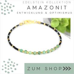Amazonit  Armband mit grünen Steinen & 925 Silber Verschluß