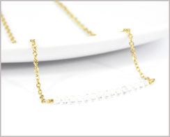 Bergkristall 3 mm Edelsteinkette  mit Edelstahl - vergoldet  Länge wählbar  21,90 €