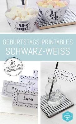 Geburtstags-Deko Printables in Schwarz-Weiss. Einfach downloaden auf www.die-kleine-designerei.com