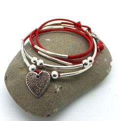 LOVELY - bracelet cuir rouge transformable et personnalisable en cuir bijou 2 en 1 breloque coeur fait main
