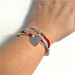 LOVELY - bracelet  femme cuir rouge transformable et personnalisable en cuir bijou 2 en 1 breloque coeur