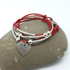 LOVELY - bracelet transformable et personnalisable en cuir breloque coeur