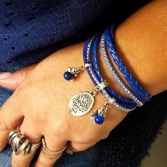 Bracelet ARBRE DE VIE manchette deux tours, ses perles et pampilles, bleu, argent strass, bracelet fait main, idée cadeau femme