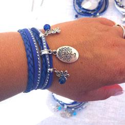 Bracelet  deux tours ARBRE DE VIE, ses perles et pampilles, bleu, argent strass. bracelet fait main, idée cadeau femme