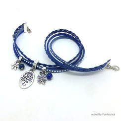 Breloque ARBRE DE VIE sur bracelet manchette deux tours, ses perles et pampilles, bleu, argent strass bracelet fait main, idée cadeau femme