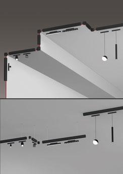 3D-Rendering eines Deckenleuchten-Profils