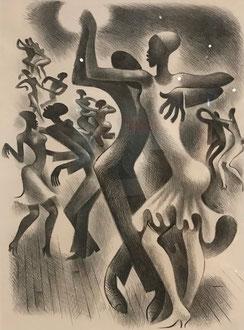 een in zwartwit afgebeelde groep dansers, met de Lindy Hop.