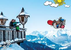 © Ötztal Tourismus; Photograf eye5; Skiregion Hochoetz, Region Oetz, Bielefelder Hütte, Imagekatalog, WIDI, Winter, Familie, Kind, Berge, Aussicht, blauer Himmel