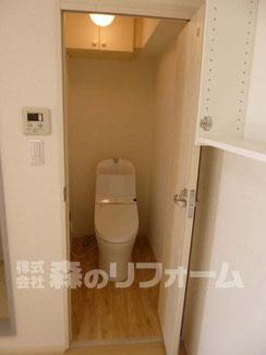 松戸市 賃貸マンションまるごとリフォーム トイレリフォーム 洗浄便座取付リフォーム 折戸ドアに交換リフォーム