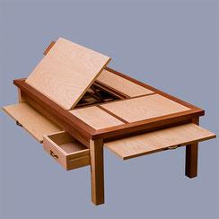 Table basse modulable, avec lutrin, tiroir et tablettes