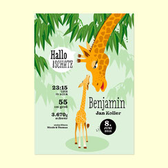 Geburtsanzeige Giraffe bei Etsy