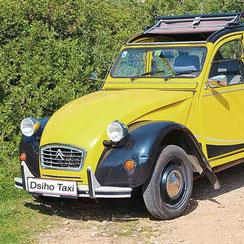 Infos zu Bestellung, Bezahlung, Versand - Foto: 2 CV Oldtimer in der Postfarbe Gelb - Dsiho Taxi
