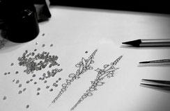 Ohrschmuck design mit graue Diamanten