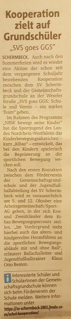 Bericht aus der Dorstener Zeitung vom 31.08.2017
