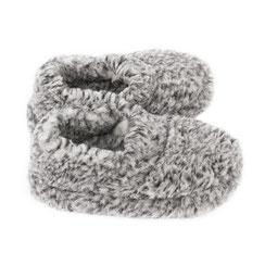Chaussons ballerines en laine naturelle de mouton grise pour homme et femme