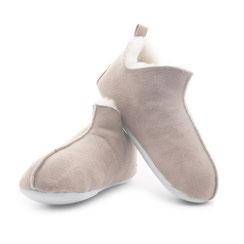 chaussons beige couleur sable écru en peau d'agneau double face intérieur fourré fourrure naturelle mouton