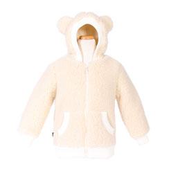 veste enfant gilet cardigan manche longue en laine naaturelle de mouton écru pour fille ou garçon