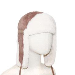 Chapeau chapka cagoule toque bonnet en peau d'agneau double face peau lainée chapeau en peau de mouton intérieur fourré fourrure naturelle de mouton blanche marron velours beige camel vintage aviateur cuir lisse homme femme