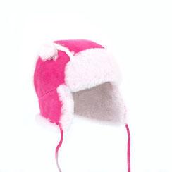 chapeau chapka bonnet cagoule bébé enfant en peau d'agneau double face peau lainée peau de mouton retournée fourrure naturelle intérieur fourré cuir fille rose fushia