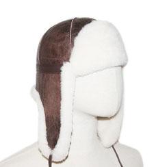 Chapeau chapka cagoule toque bonnet en peau d'agneau double face peau lainée chapeau en peau de mouton intérieur fourré fourrure naturelle de mouton blanche marron vieilli vintage aviateur cuir lisse homme femme
