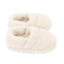 Chaussons ballerines en laine naturelle de mouton blanche pour homme et femme
