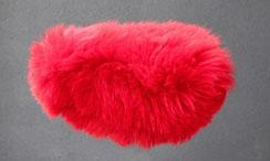 Housse Couvre selle de mouton en peau de mouton teintée rouge VTT VTC VILLE