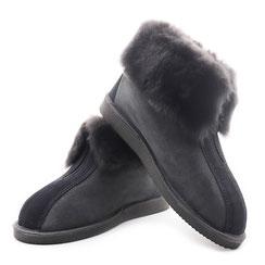 Chaussons ONTARIO en peau d'agneau peau lainée mouton fourré semelle antidérapante cuir velour zip fermeture spécial pieds larges