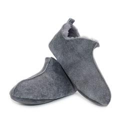 chaussons granit gris clair en peau d'agneau double face intérieur fourré fourrure naturelle mouton