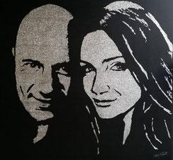 portrait personnalisé - couple en paillettes