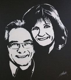 Double portrait acrylique - tableau contemporain
