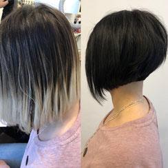 Haarschnitt: Graduierter Bob-Cut, Haarfarbe: Jet-Schwarz