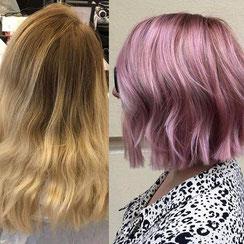 Haarschnitt: Bob-Cut welliges Haar, Haarfarbe: Pastellblond Roseblond Lavendelfarben