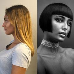 Haarschnitt: Graduierter Bob-Cut, Haarfarbe: Dunkelbraun