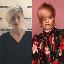 Haarschnitt: MODERN SHAGGY MULLET, Haarfarbe: BLEACH & CREATIVE TONE PFIRSICHBLOND