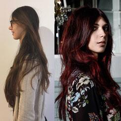 Haarschnitt: Langhaarschnitt welliges Styling, Haarfarbe: Mahagoni-Rot