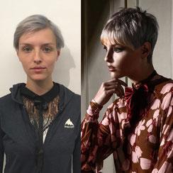 Haarschnitt: Mia-Farrow-Hair Pixie-Cut Kurzhaarschnitt, Haarfarbe: Greyhair-DontCare Metallic-Greyhair Silberblond und Biscuit-Farbe