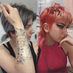 Haarschnitt: MODERN MULLET #PUNKCOUTURE HAIR, Haarfarbe: ROSÉ PFIRSICH ERDBEER & CREMY-ICEBLOND