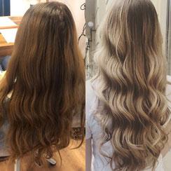 Haarschnitt: Perfect Wavyhair, Haarfarbe: Blond Balayage Foilyage
