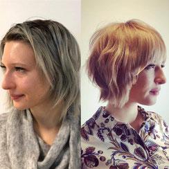 Haarschnitt: texturierter-Bob Faceframing-Hair, Haarfarbe: goldenes Blond, Vanilla-Blond