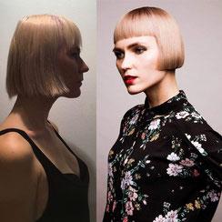 Haarschnitt: Graduierter Bob-Cut, Haarfarbe: warmes Champagner-Blond