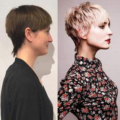 Haarschnitt: Pixie-Cut / Farbe: warmes Champagner-Blond mit Blond-Highlights in Platinblond