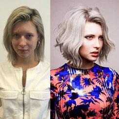 Haarschnitt: Wavy-Bob mit Quiff, Haarfarbe: Pastell-Blond