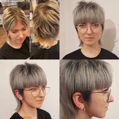 Haarschnitt: Mullethair mit starkem Ponymotiv, Haarfarbe: hell und dunkel Grau