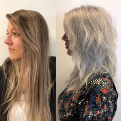 Haarschnitt: texturierter Langhaarschnitt welliges Haar, Haarfarbe: kühles Bleach-Blond